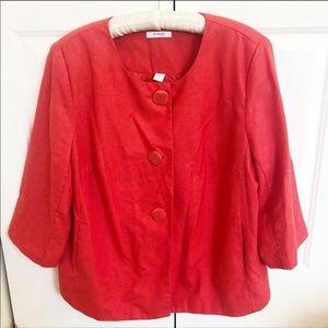 DressBarn plus size red 3/4 sleeve red blazer